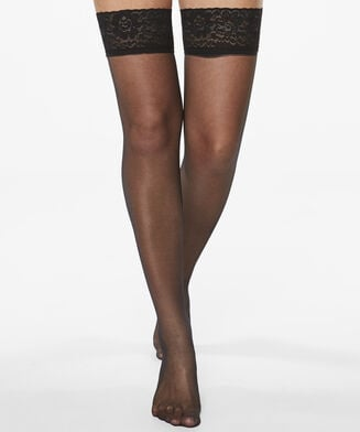 Stay-up 15 Denier Lace Anti-ladder, Schwarz