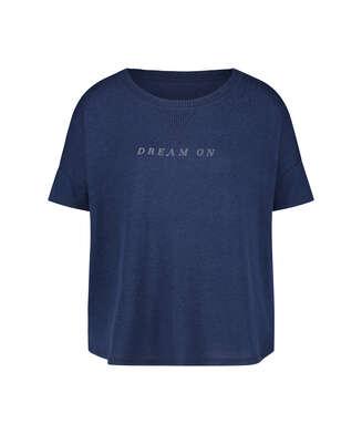 Pyjamatop kurzärmlig Brushed Jersey, Blau