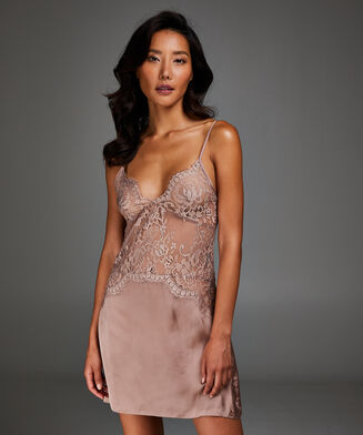 Slipdress Satin Lace, Rose