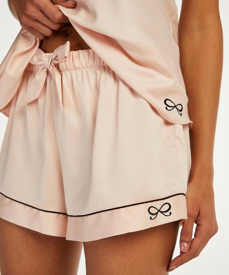 Pyjamashorts Satin Lace, Rosa