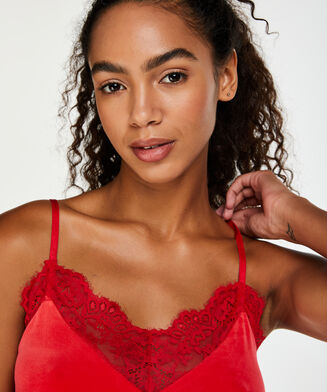 Cami Velours Spitze, Rot