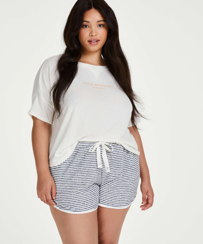 Kurze Pyjamahose Brushed Stripe, Grau, main