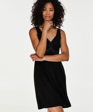 Slipdress Modal Lace mit Spitze, Schwarz