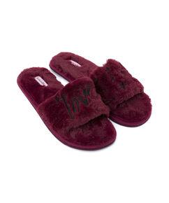 Fake Fur Slippers Love, Rot