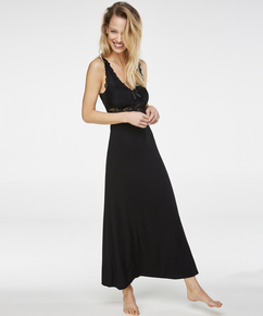 Langes Slipdress, Modal Lace, Schwarz