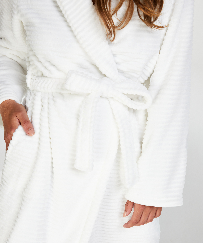 Langer Bademantel Fleece Rip, Weiß, main