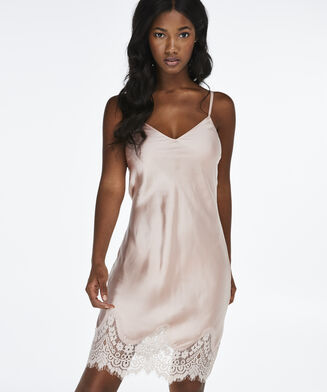 Slipdress Lace Satin, Rose