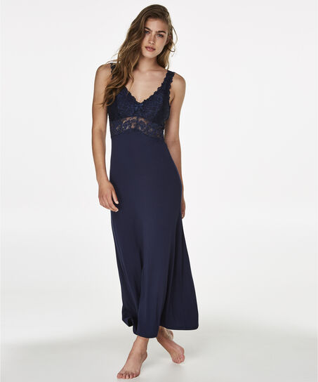 Langes Slipdress, Modal Lace, Blau
