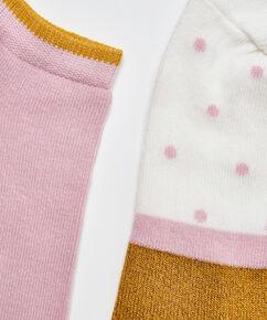 2 Paar Lurex-Socken gepunktet, Gelb
