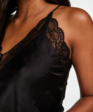 Cami top satin lace, Schwarz
