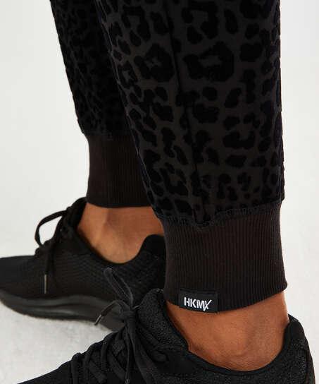 HKMX Jogginghose Leopard, Schwarz