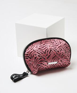 Make-up-Tasche Satin Zebra, Rot