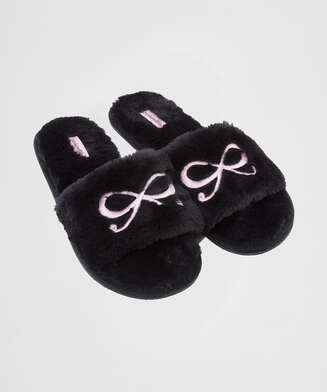 Fake Fur Slippers Bow, Schwarz