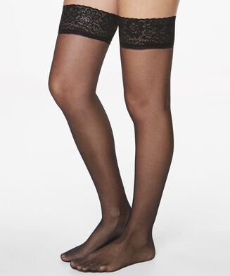 Stay-ups 15 Denier Lace, Schwarz