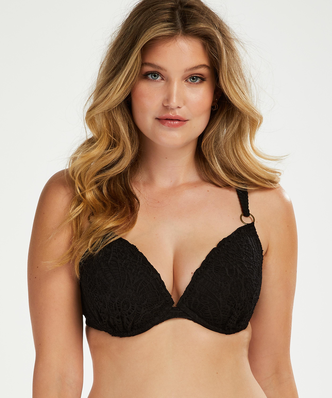 Vorgeformtes Bügel-Bikini-Oberteil Crochet, Schwarz, main