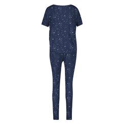 Kurzarm-Pyjamatop Loose Fit, Blau