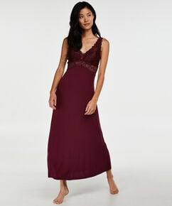 Langes Slipdress, Modal Lace, Rot