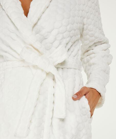 Fleece-Bademantel lang, Weiß