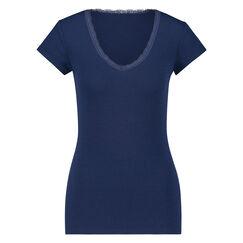Kurzarm-Top, Rib V-Neck, Blau
