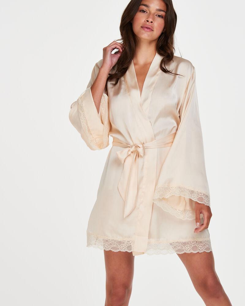 Artikel klicken und genauer betrachten! - Fühlen Sie sich sexy in diesem prächtigen Kimono! Der Kimono hat ein seidiges 'Look and Feel' und ist mit Spitze versehen. Kombinieren Sie ihn mit wunderschönen Dessous aus der Kollektion! Bindebändchen Spitze Satin   im Online Shop kaufen