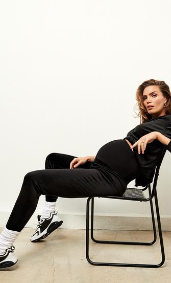 Schwangerschafts-Jogginghose Velours Schimmer, Schwarz