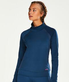 HKMX-sporttop mit langen Ärmeln und hohem Halsausschnitt, Blau