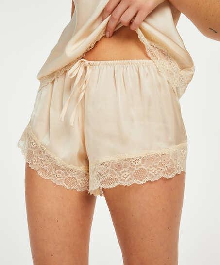 Pyjama-Shorts Satin, Beige