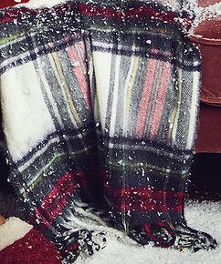 Schal-Decke mit Karomuster, Rot