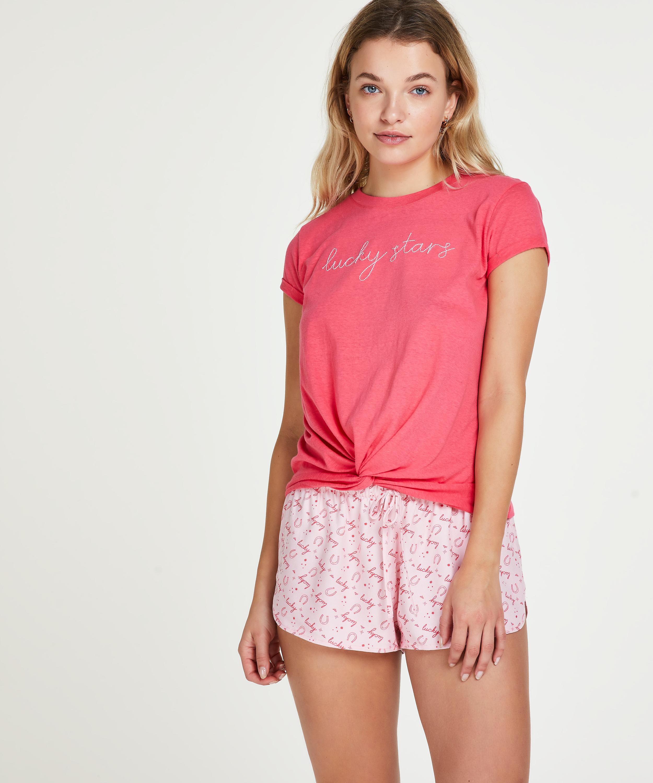 Kurzärmeliges Pyjama-Top Jersey Knot, Rot, main