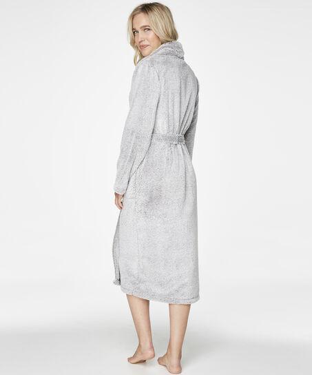 Langer Bademantel Fleece Glazed, Grau