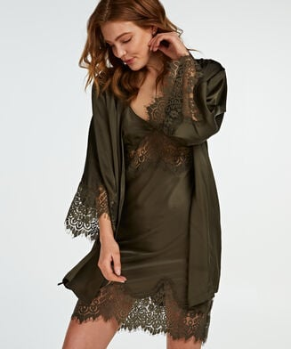 Slipdress Lace Satin, grün