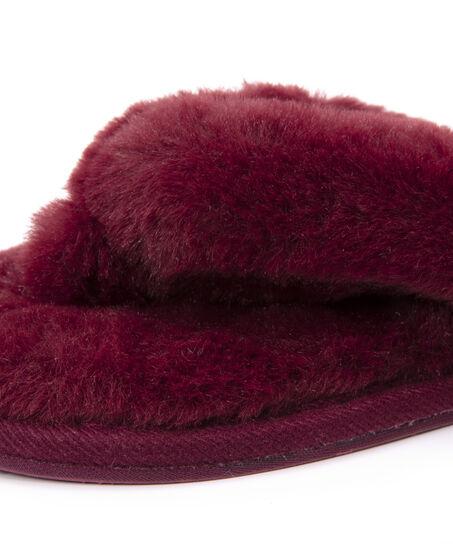 Hausschuhe Fake Fur, Rot