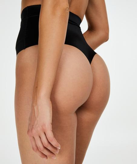 Formender Scuba-Tanga mit hoher Taille - Level 3, Schwarz