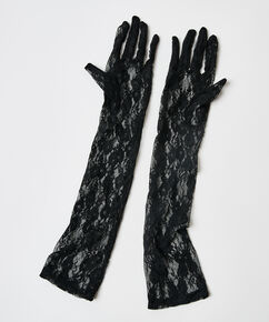 Private Spitzen-Handschuhe, Schwarz
