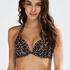 Vorgeformtes Push-up Bügel-Bikinitop Leopard, Beige
