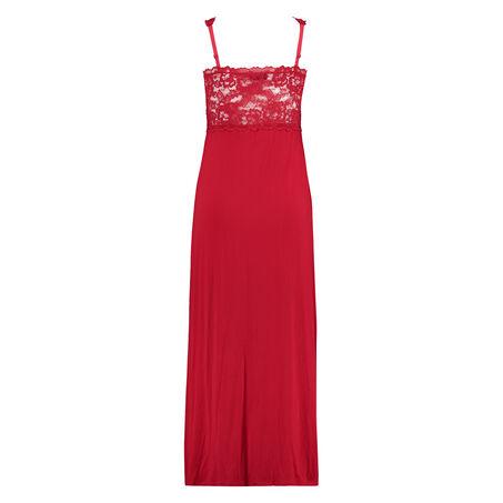 Langes Slipdress, Modal Lace, Rot