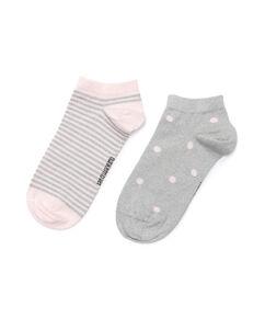 2 Paar Lurex-Socken gepunktet, Grau