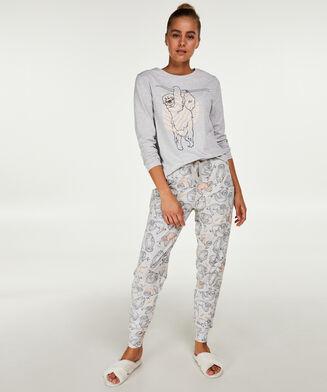 Langarm-Pyjamatop Jersey, Grau