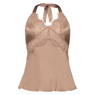 Pyjama Cami Top Seide Scallop Lace, Rose