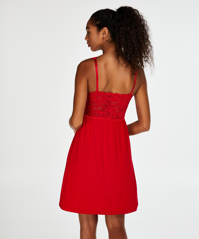 Slipdress Modal Lace mit Spitze, Rot, main