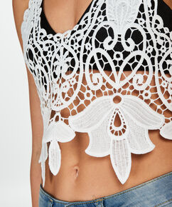 Crochet-Top, Weiß