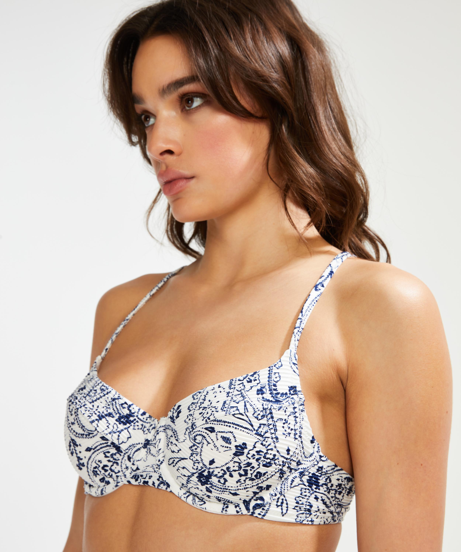 Nicht-vorgeformtes Bügel-Bikini-Oberteil Paisley, Weiß, main