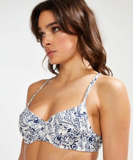 Nicht-vorgeformtes Bügel-Bikini-Oberteil Paisley, Weiß