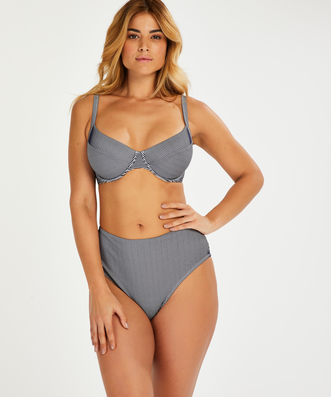 Nicht vorgeformtes Bügel-Bikini-Top Ruffle, Blau, main