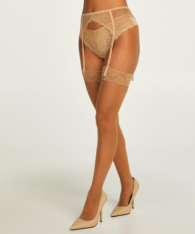 2 Paar Stockings 15 Denier Lace, Beige, main