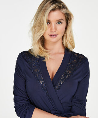 Bademantel Modal Lace, Blau