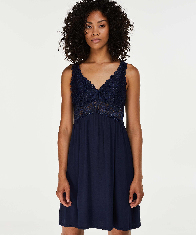 Slipdress Modal Lace mit Spitze, Blau, main