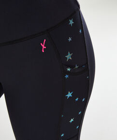 HKMX-Highwaist-Sportleggings Star, Schwarz