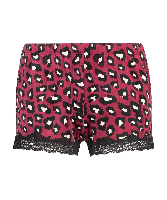 Shorts aus Velours mit Spitze, Rot, main