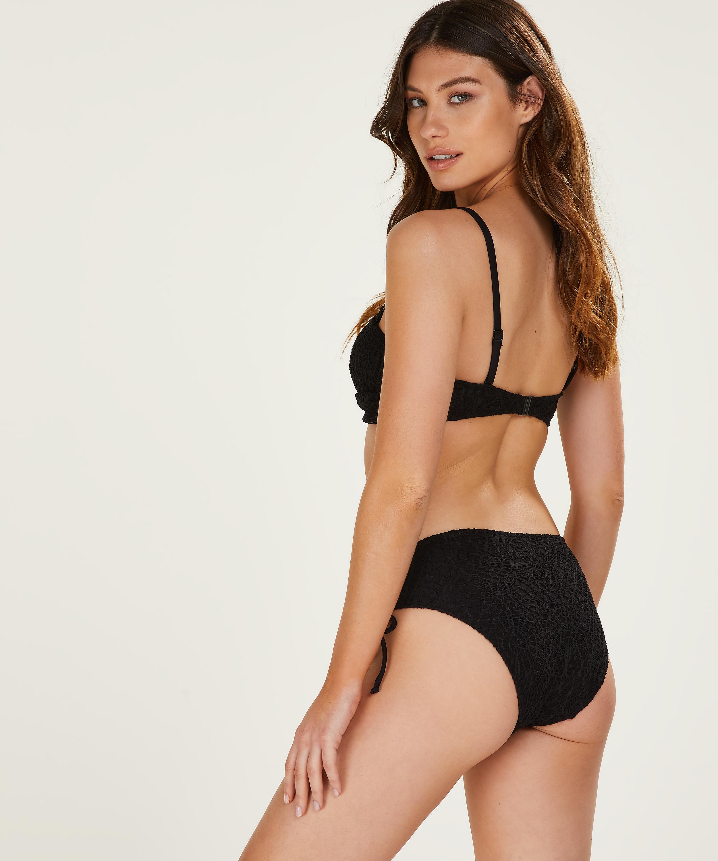 Vorgeformtes Bandeau-Bikini-Top Crochet, Schwarz, main